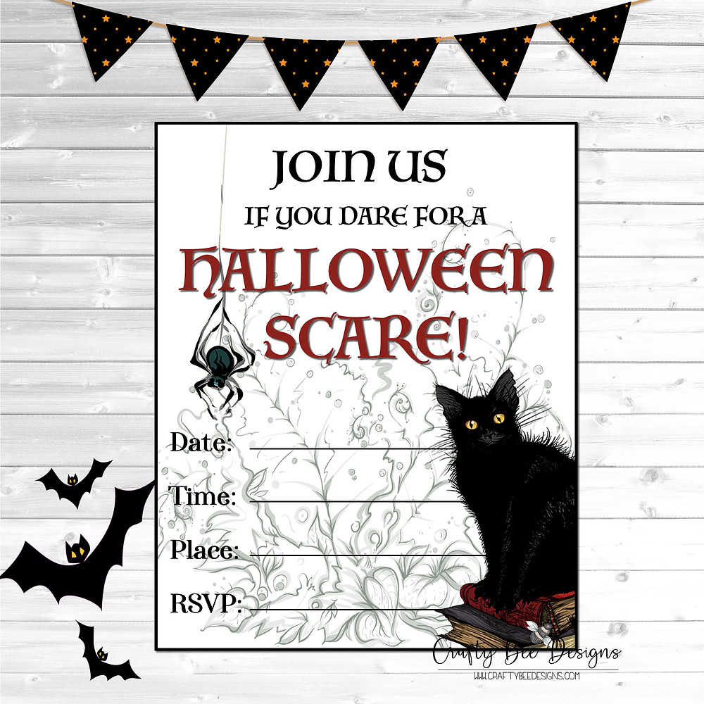 Spooky Black Cat Printable Halloween Party Invitations from www.craftybeedesgins.com