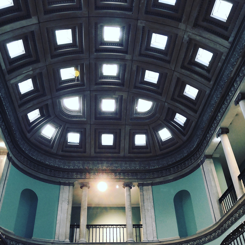A glass ceiling above the great hall at leigh court in Bristol