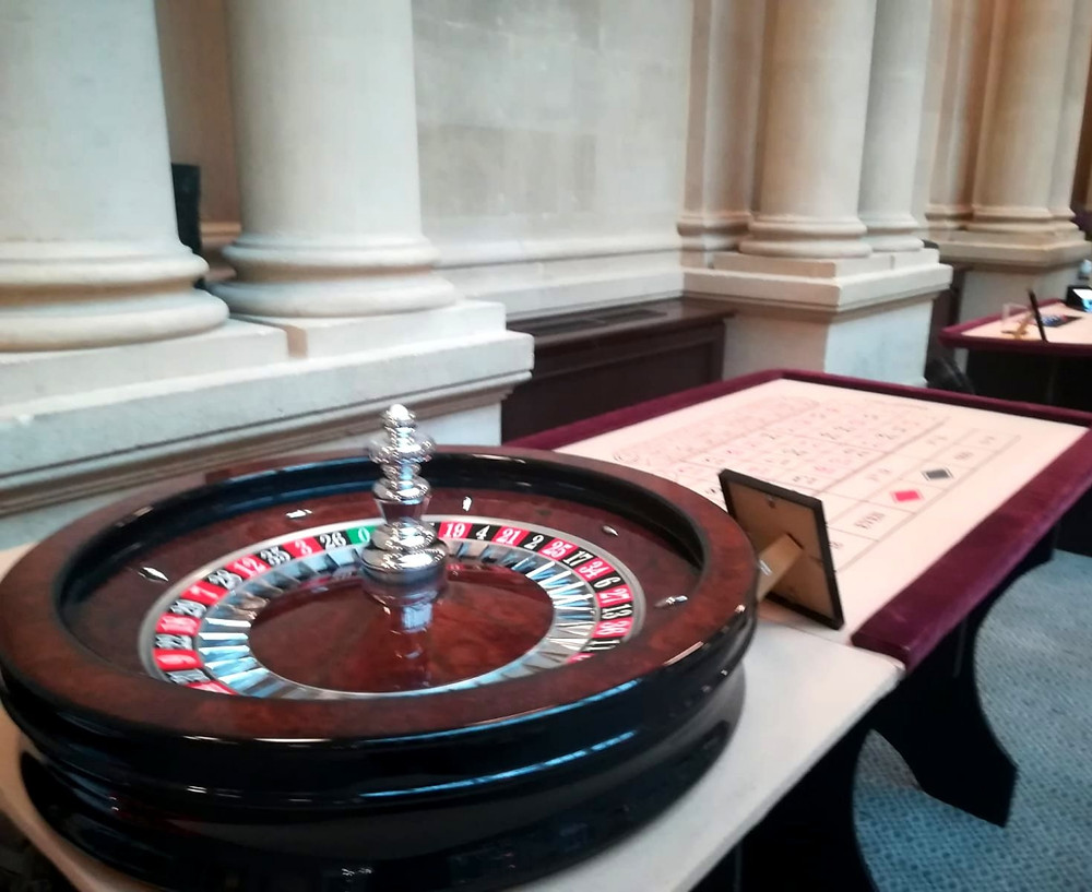 A cream roulette table with a John Huxley roulette wheel in  the harbour hotel Bristol