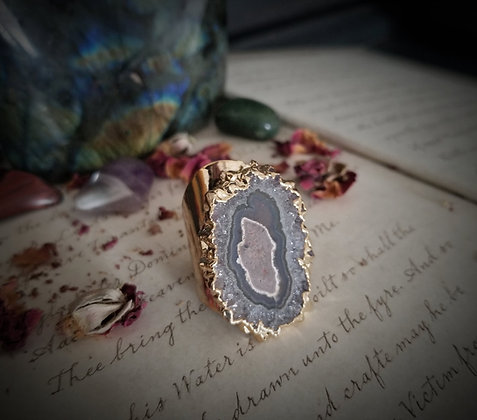 Amethyst Stalactite Cuff Ring -Gold