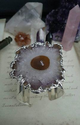 Silver Cuff Bracelet - Amethyst Stalactite
