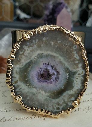 Gold Cuff Bracelet - Amethyst Stalactite