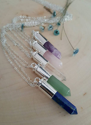 Crystal Bullet Necklace - Silver