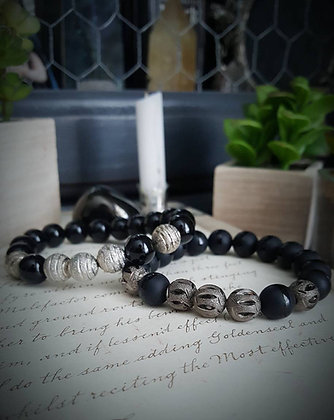 Beaded Gemstone Bracelet - Black Agate & Silver