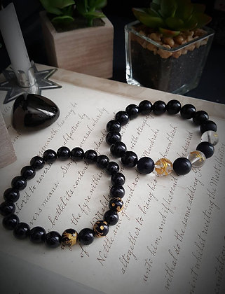 Beaded Gemstone Bracelet - Black Agate & Dragons