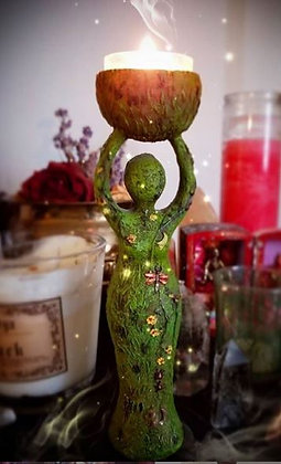 Green Goddess Candle Holder Statue
