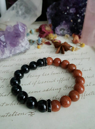 Beaded Gemstone Bracelet - Goldstone & Onyx