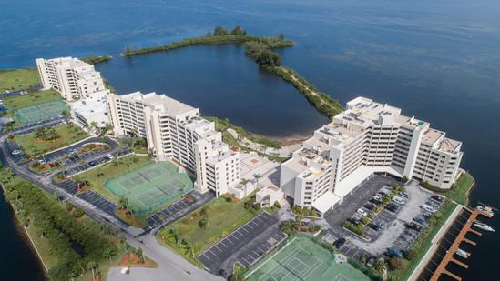 Aerial view of condominiums