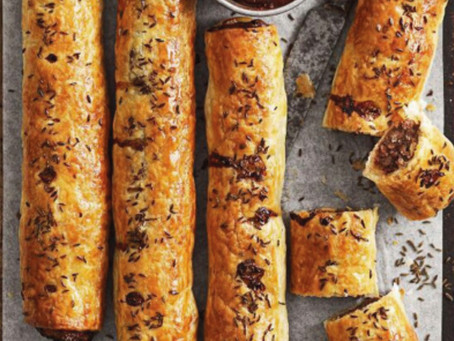 Vension quinche paste smoked almond sausage rolls
