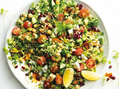 Broccoli tabouli with feta and pomegranate