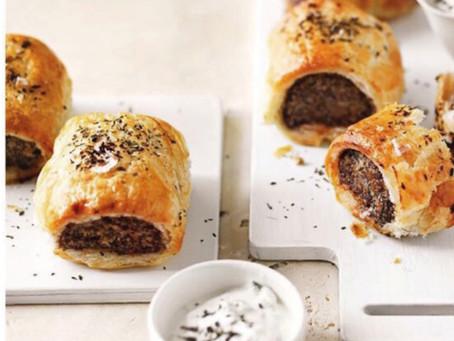 Venison and chilli sausage rolls serve with coriander tzatziki
