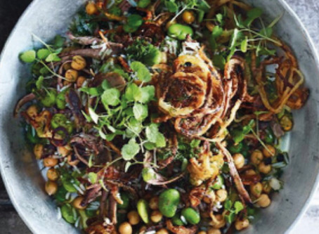 Slow roasted venison - (Goulash Strips or diced) - with rice, broad beans and burnt onion