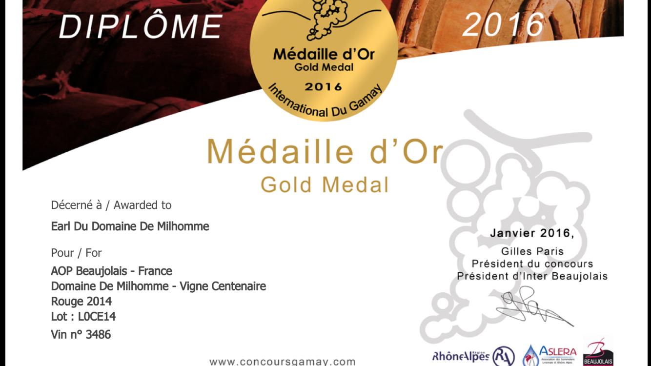Diplome OR Vigne centenaire 2014
