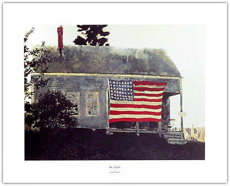 ida proper James Jamie Wyeth print house American flag