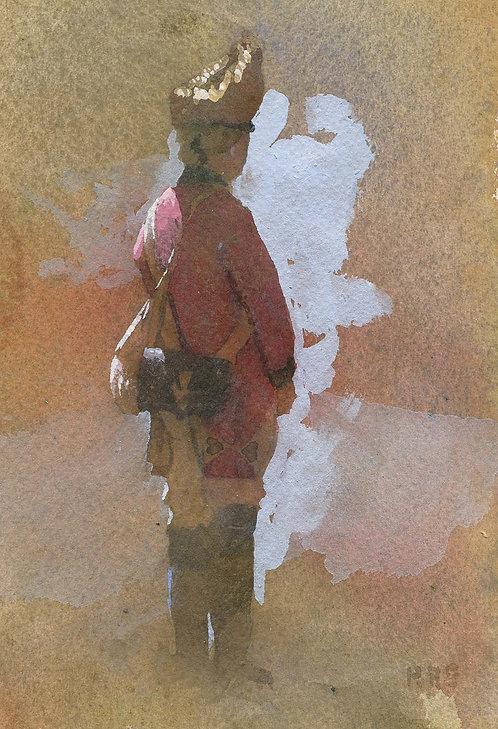 British Grenadier redcoat watercolor painting robert stack
