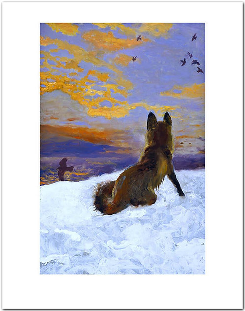 Island Fox Jamie Wyeth print fox in snow Monhegan