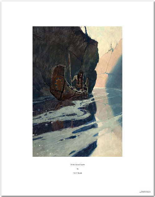 In the Crystal Depths NC Wyeth print indian in a canoe Indian in His Solitude