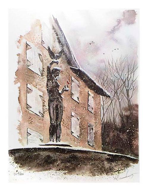 Paul Scarborough print Brandywine River Museum boy hawk sculture Charles Park