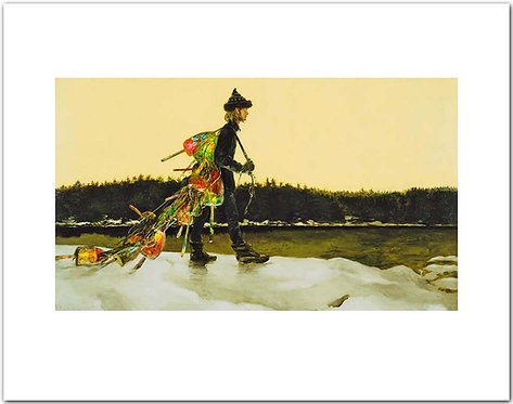 The Mainland Jamie Wyeth print boy collecting lost lobster buoys maine