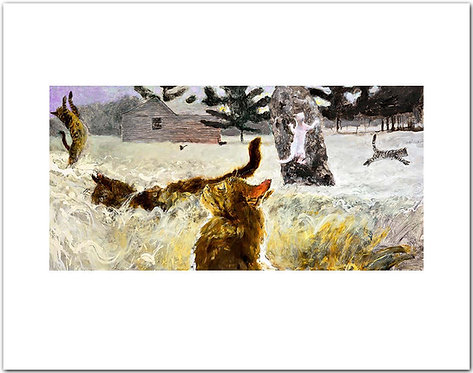 "Birding – Fifth in a Suite of Untoward Occurrences on Monhegan Island"" Jamie Wyeth print cats chasing birds"