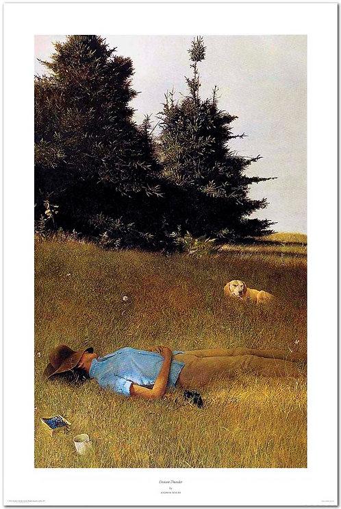 distant_thunder_Andrew_Wyeth_print_dog_sleeping_woman_blueberries