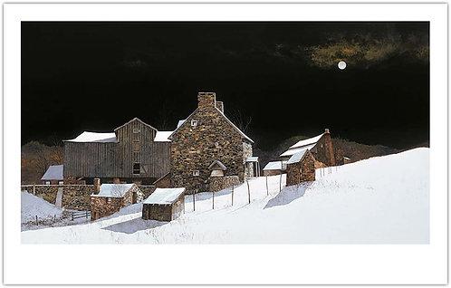 December_Moonrise_peter_sculthrope_print_winter_stone_house_snow_wyeth