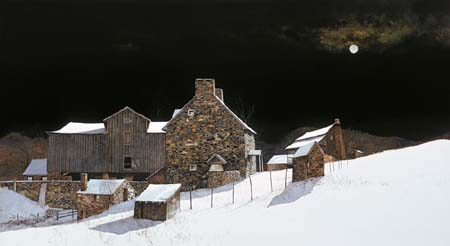 December_Moonrise_peter_sculthrope_print_winter_stone_house_snow_wyeth_SMALL