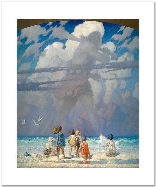 N.C. NC Wyeth print The Giant clouds beach children westtown school