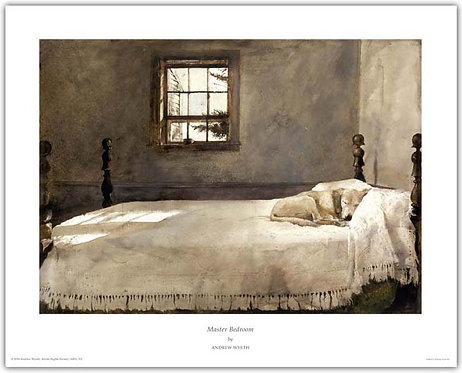 Master Bedroom Andrew Wyeth print dog sleeping on a bed