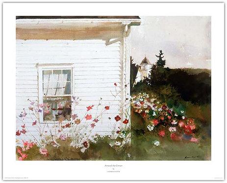Around The Corner Andrew Wyeth print white house flowers Maine