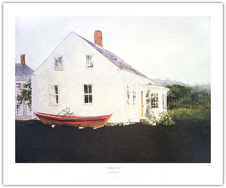 fog_bound_island_Jamie_Wyeth_print red boat white house