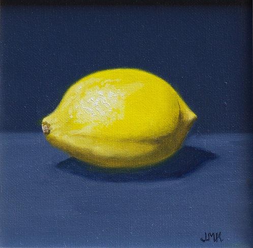 """""""Lemon on Blue Still Life"""" by Jackie Kane"""
