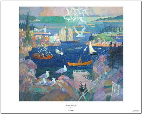 Harbor at Herring Gut NC Wyeth print Maine fishing fishermen rowing sea gulls sailing ships