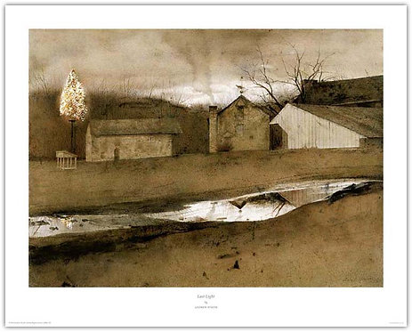 Last Light Andrew Wyeth print old farm Christmas tree on a poll