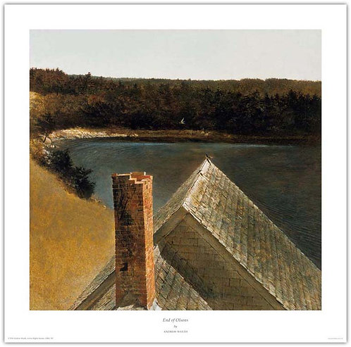 End Of Olsons Andrew Wyeth print roof old house sea Maine