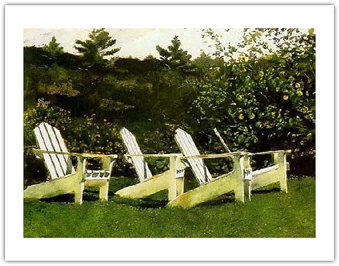 Island Library Jamie Wyeth print adirondack chairs