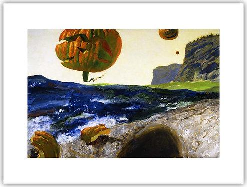 Headlands_of_Monhegan_Island_Jamie_Wyeth_print pumpkins over a cliff