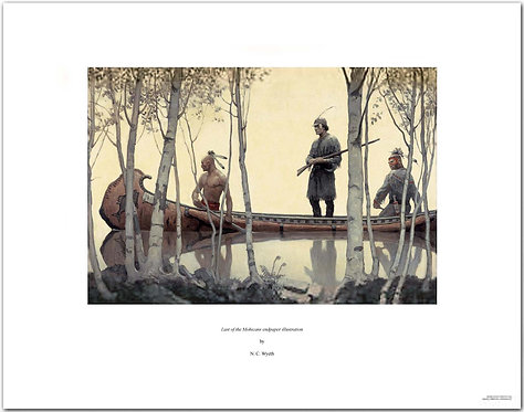 Last of the Mohicans NC Wyeth print indian and frontiersman in canoe