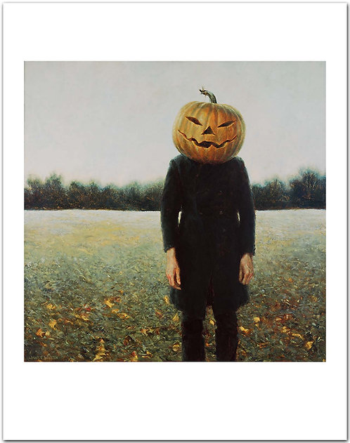 Pumpkinhead - Self-Portrait jamie wyeth print man wearing a pumpkin