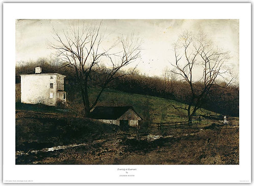 Evening At Kuerners andrew wyeth print farm at night light in window