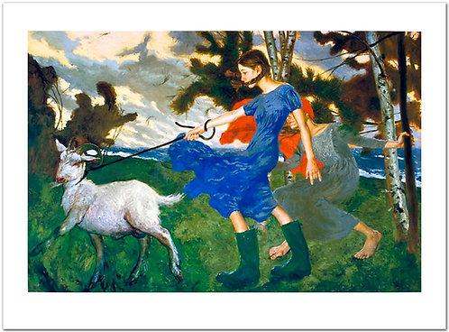 The Wind Jamie Wyeth print girls walking goat
