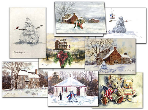 Christmas greetings cards snowman colonial