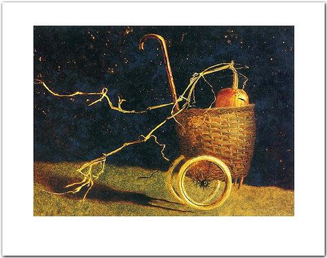 mischief night  jamie wyeth print pumpkin rolling down hill in a basket