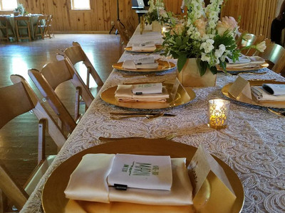 Place setting on bridal party table