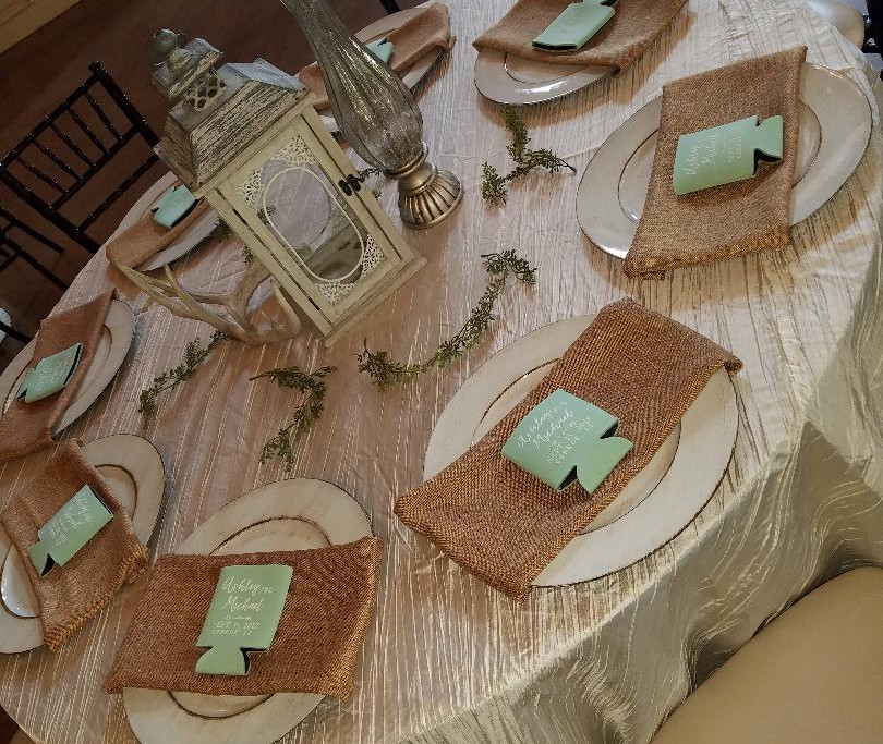 Reception table decor with antlers