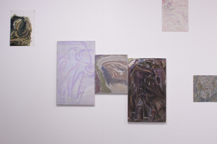 Mass, Installation of paintings on linen and paper