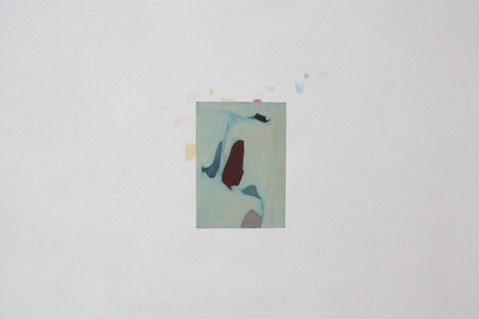 Oil and encaustic on paper, watercolour on wall
