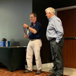 Randy Bushey presenting Brockaway Award to Ed Crenshaw