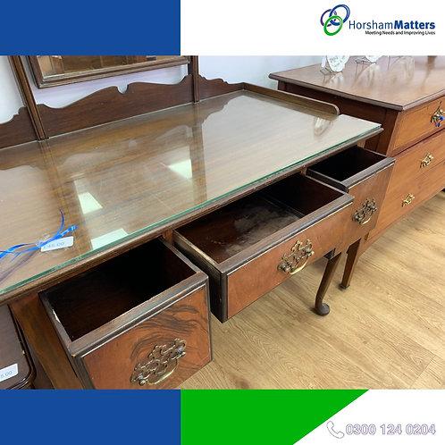 Glass top dark wood bureau