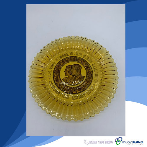 Vintage Pressed Glass Plate celebrating the Coronation of King George VI in 1937